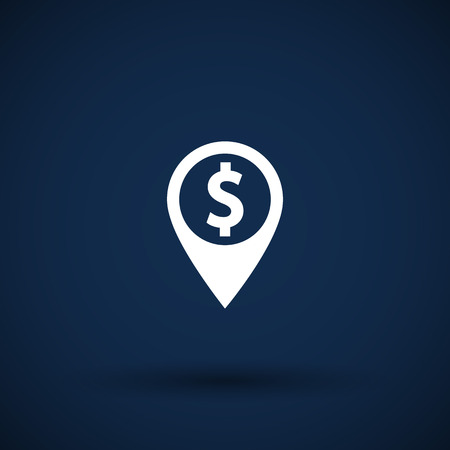 excursions: Map pointer with dollar sign icon money Illustration