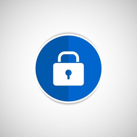 password protection: Blue lock icon with protection key password blocked privacy Illustration