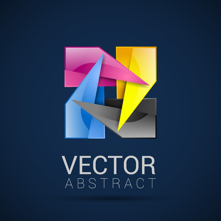 logo informatique: Vector business mod�le avec l'ic�ne CMJN