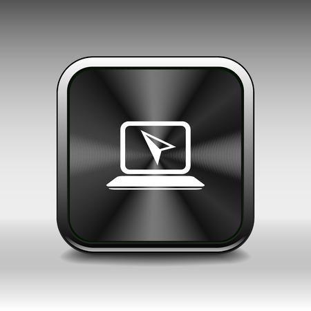rim: Laptop Icon  Button with Metallic Rim Original Illustration