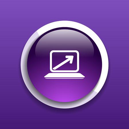 pointing up: Laptop con la freccia rivolta verso l'alto dallo schermo in bianco