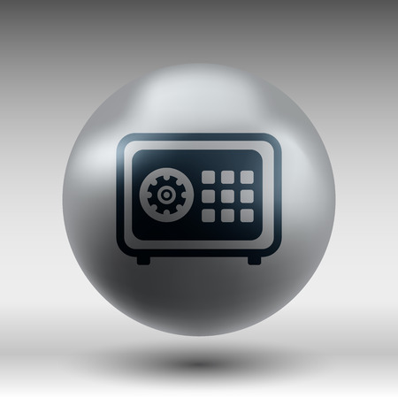 safe lock: Flat icon of safe lock finance bank security protection safety Illustration
