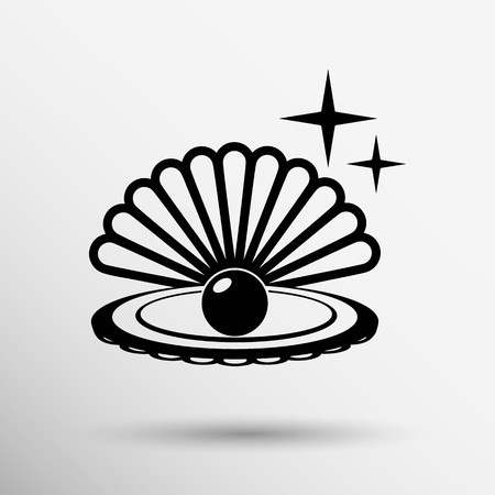 oyster: Gray web icon pearl isolated ball symbol element illustration.