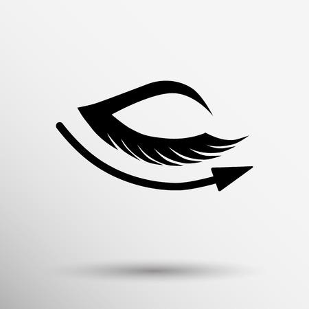 long eyelashes: Eye with lashes long eyelashes icon. Illustration