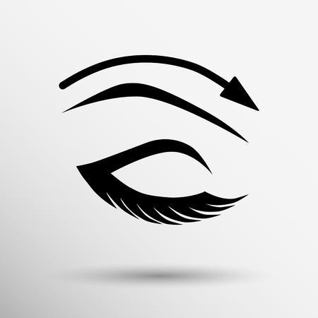 Eyelashes and eyebrows eyelash eye icon makeup isolated. Illustration