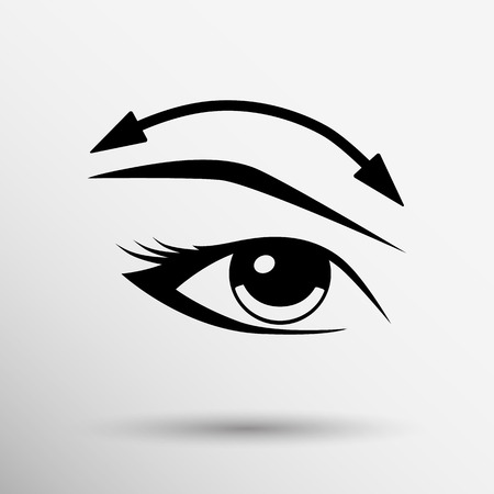 eyelash: Eyelashes and eyebrows eyelash eye icon makeup isolated. Illustration