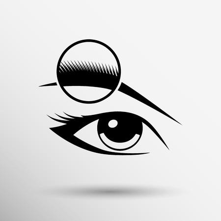 Ojo humano aislado ojo ceja humana belleza vista maquillaje femenino.