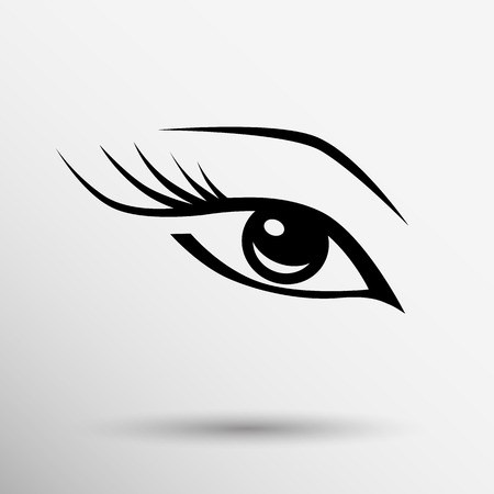 長いまつげ女性化粧美容記号と青い目です。