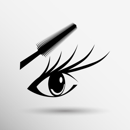 Woman eye with beautiful makeup and long eyelashes Mascara Brush. High quality image.