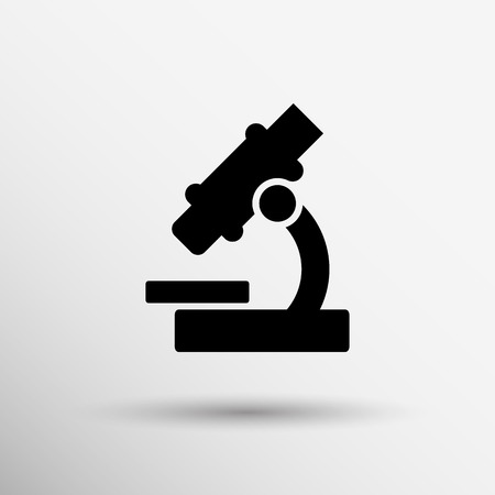 Black microscope icon  - vector illustration. symbol