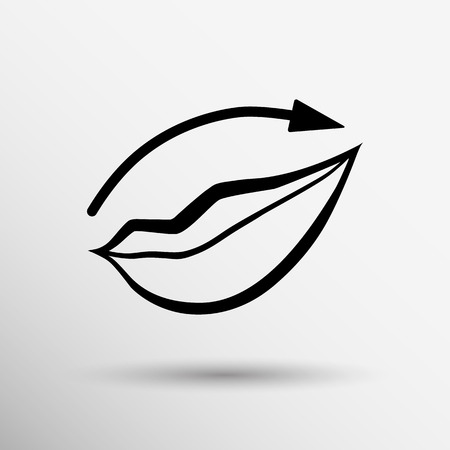 lipstick brush: Applying lipstick using lip concealer brush isolated icon.