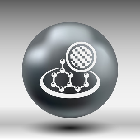 greenhouse gas: carbon organic element molecule science background icon.