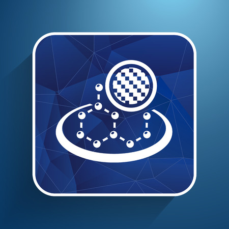 high scale: carbon organic element molecule science background icon.