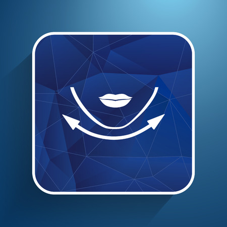 align: Beautiful woman face chin oval align icon. Illustration