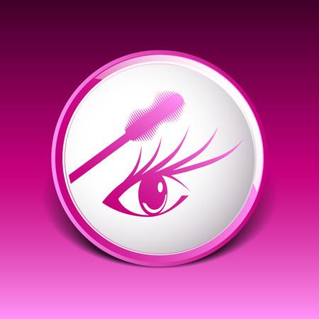 mascara eye brush paint makeup stroke isolated eyelash. Vector