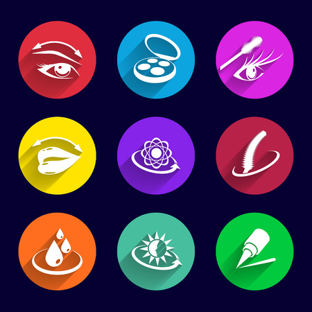 leveling: Cosmetics Icons set illustration lipstick brush foundation female  pencil mascara