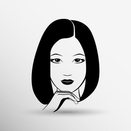 Volto di donna di bellezza moda illustrazione vettoriale ragazza. Archivio Fotografico - 40496840