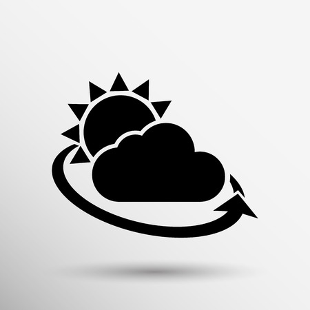 weather icon rain closeup sunlight shine isolated wet cold. Vector