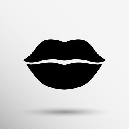 romantic sex: kiss lips vector lipstick icon passion symbol people female.