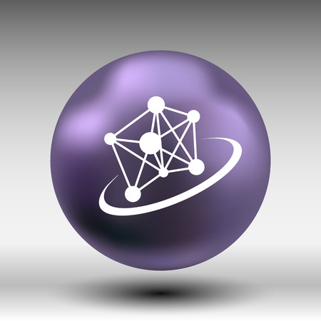 no nuclear: Molecule icon atom chemistry vector symbol element.