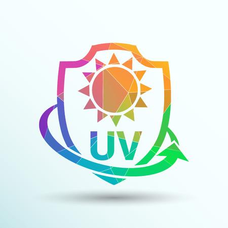 uv: Icono, Etiqueta engomada o la protecci�n contra los rayos UV. Vectores
