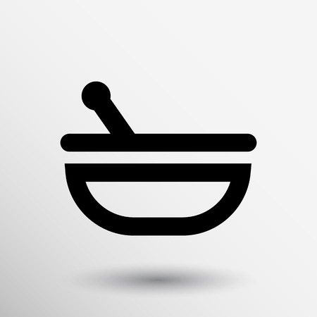 apothecary: Mortar and pestle with blue tablets icon.