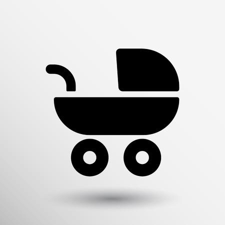 nanny: baby stroller icon, maternity wheel illustration born pram.