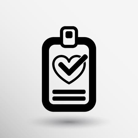 heart and tick icon health medical sign symbol. Vector