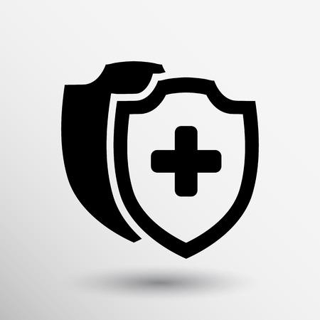 건강: 벡터 의료 방패 아이콘 플랫 건강 크로스 의료 보호.
