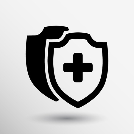 zdrowie: Vector Tarcza medycznych ikonę tarczy płaskim zdrowia krzyż medycznej.