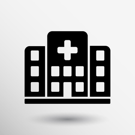 Hospital icon cross building isolated human medical view. Vectores