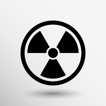 irradiation: sign radiation vector icon caution nuclear atom power.