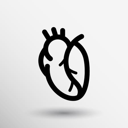 vector red human heart icon cardio cardiovascular. Vectores