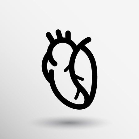cardio: vector red human heart icon cardio cardiovascular. Illustration