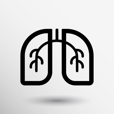 partes del cuerpo humano: Pulmones icono aislado sobre fondo blanco. Arte Vectorial.