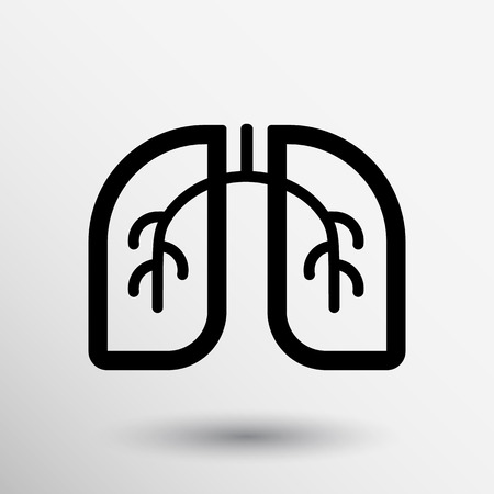 silueta humana: Pulmones icono aislado sobre fondo blanco. Arte Vectorial.