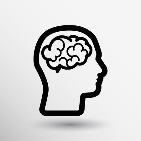 Kopf Gehirn-Symbol denken, Design in Vektor-Illustration.
