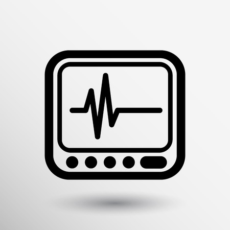 Vector Display with Cardiogram Icon medical survey test isolated. Illustration