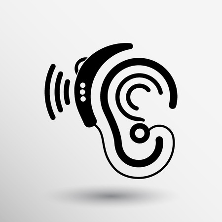 Ear vector icon hearing aid ear listen sound graphics.