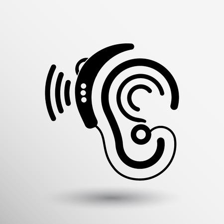 Oído del icono del vector del oído audífono escuchar gráficos de sonido.