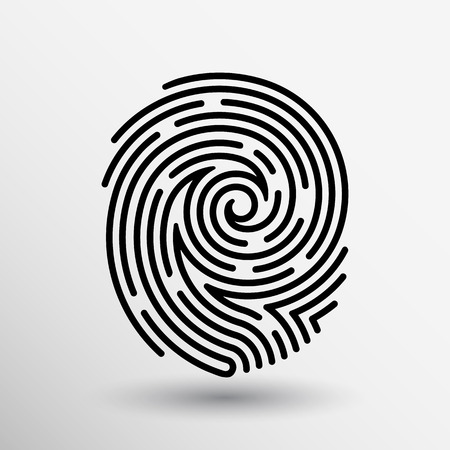 macro: Fingerprint icon finger print vector id theft macro stamp. Illustration