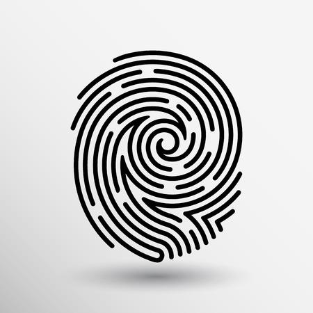impresion: Icono de la huella digital del vector Identificación del robo de la huella digital macro sello. Vectores