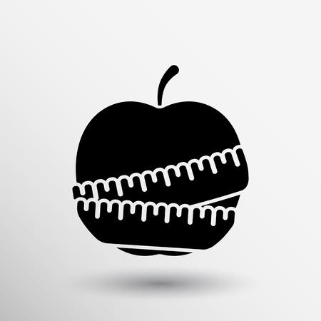 calories: Vector Slimming apple icon slim weight diet.