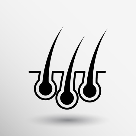 cabello: icono de depilación humano joven crezca bombilla médica. Vectores
