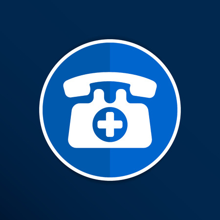 communication icons: emergency call sign icon vector fire phone number button Illustration