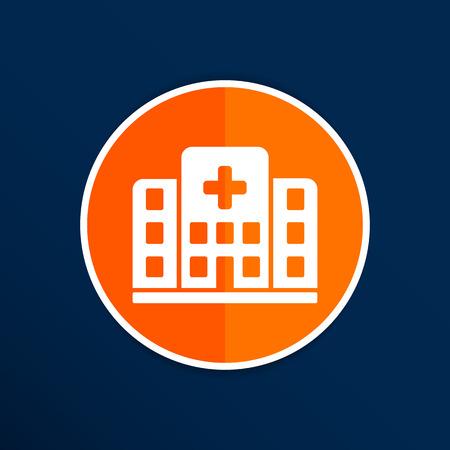 Krankenhaus icon Quergebäude isoliert menschlichen medizinischer Sicht.