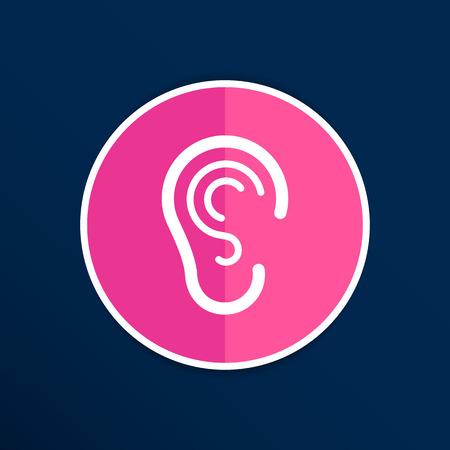 listen ear: ear icon listen vector hear deaf human sign.