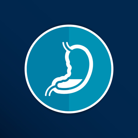 Human stomach icon human cross intestinal organ. Illustration