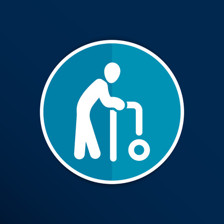 old couple walking: Elder Black Graphic Symbol Vector Illustration  icon.
