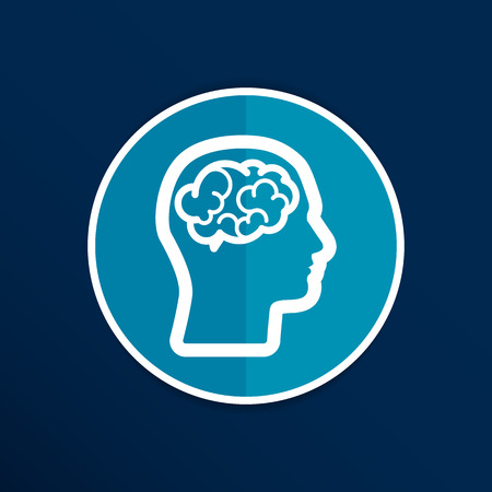 Head brain icon think design over vector illustration. Иллюстрация